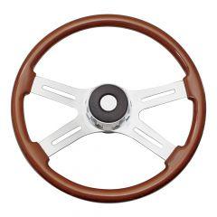 """4 Spoke Rosewood Steering Wheel 20"""" for Peterbilt, Kenworth, Western Star, Mack"""