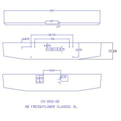 """Freightliner Classic XL 2008 16"""" Tapered Bumper"""