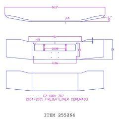 "Freightliner Coronado 2002-2009 19"" Chrome Bumper"