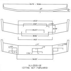 "Peterbilt 377AE, 375 13"" Set Foward Chrome Bumper"