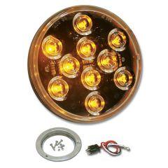 "4"" Mega 10 Amber/Clear LED Light with SS Bezel"