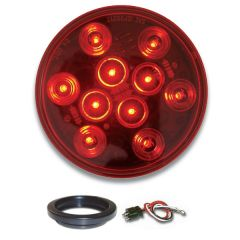 "4"" Mega 10 RD/RD LED Light with Grommet & Pigtail"