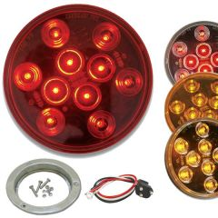 """4"""" Round Mega 10 LED Light with Stainless Steel Flange & Pigtail"""
