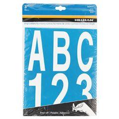 "3"" White Die Cut Vinyl Letters and Numbers Set"