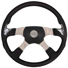 """4 Spoke Highway Sport Leather Steering Wheel 18"""""""
