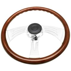 3 Spoke Wing Style Rosewood Steering Wheel 18""