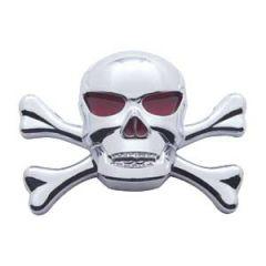 3D Chrome Skull and Cross Bones Accent Tape Mount