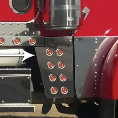 """Peterbilt Wide Cowl Extension with 2"""" LED and Bezels"""