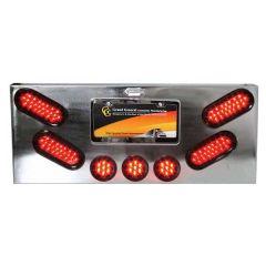 "Chrome Rear Center Panel w/4 Oval & Three 2.5"" LED"
