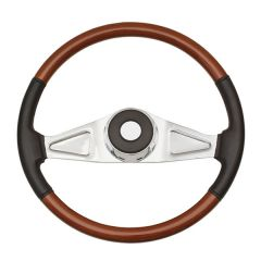 2 Spoke Rosewood and Leather Steering Wheel