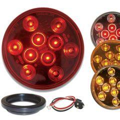 "4"" Round Mega 10 LED Light with Grommet & Pigtail"
