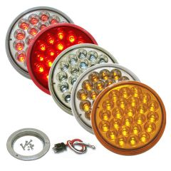 """4"""" Round Pearl LED Light with Stainless Steel Flange & Pigtail"""