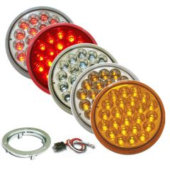 """4"""" Round Pearl LED Light with Chrome Bezel & Pigtail"""