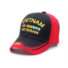 Vietnam Veteran Black and Red Double Shadow Cap