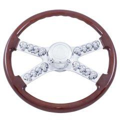 """Freightliner 4 Spoke Skull Wood Steering Wheel 18"""""""