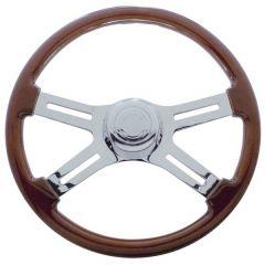 """FL 4 Spoke Wood Steering Wheel Cutout Spokes 18"""""""