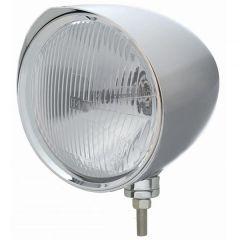 Chopper Chrome Headlight w/ Razor Visor & H4 Bulb