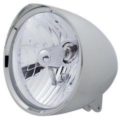 Chopper Chrome Headlight w/Visor & Crystal H4 Bulb