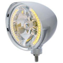 Chrome Chopper Headlight w/ 34 Amber LED H4 Bulb