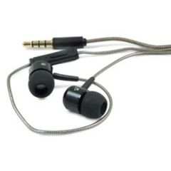 Black & Silver In-Ear Earbuds with In-Line Mic