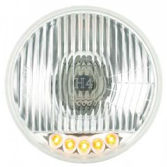 """5-3/4"""" Round Headlamp with H4 Bulb and 5 Amber LED"""
