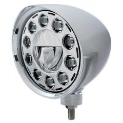 Chrome Chopper LED Headlight with Smooth Visor