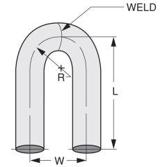 """3.5""""D x 10""""L x 3.5""""R 180* Steel U-Bend Pipe"""