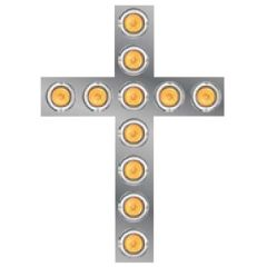 """SS Lighted Cross 26"""" x 18.5"""" with Hooded Bezels"""