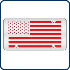 Red American Flag Decorative License Plate