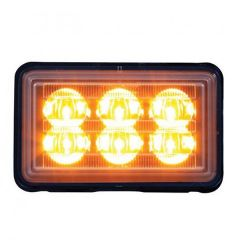 6 Amber LED Rectangular Warning Light w/ Bracket