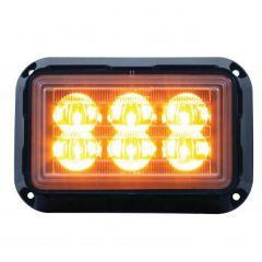 6 High Power Amber LED Rectangular Warning Light