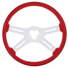 """18"""" Red Painted Wood Steering Wheel"""