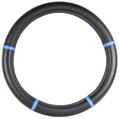"""Black with Blue Trim Steering Wheel Cover 18"""""""