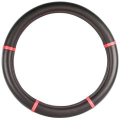 """Black with Red Trim Steering Wheel Cover 18"""""""