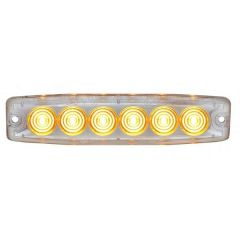 Amber/Clear 6 High Power LED Thin Warning Light