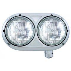 Peterbilt 359 Stainless Steel Dual Headlight with Halogen H4 Bulb