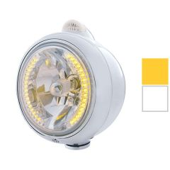 Stainless Steel Guide Headlight with 34 Amber LED H4 Bulb and Dual              Function Amber LED