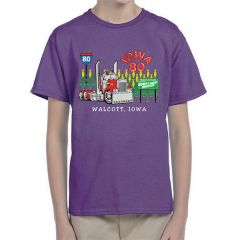 Iowa 80 Truck Crossing Purple Kids T-shirt