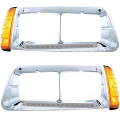 Freightliner FLD 14 Amber/Clear LED Headlight Bezel with Turn Signal