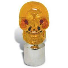 """Amber Skull & Chrome Cap for Bumper Guide 1"""" I.D."""