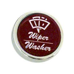 CHROME WIPER WASHER KNOB RED
