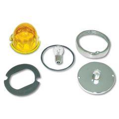 Light Amber Regular Glass Cab Light Lens 2 Wire
