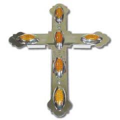 """Chrome Steel LED Lighted Cross 18.5"""" x 13"""""""