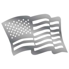 """25"""" Waving American Flag Stainless Steel Cut Out"""